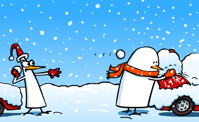 Pid'Jin throws another snowball at Fredo, while Fredo is building up a huge snowball.