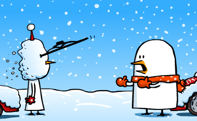Fredo has thrown his huge snowball, but with it he also threw a windshiled wiper, right into Pid'Jin's eye.