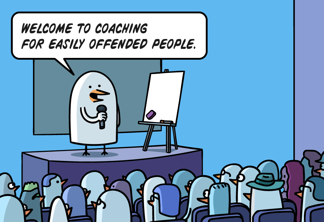 Fredo is a speaker, in front of a crowd: Welcome to coaching for easily offended people.