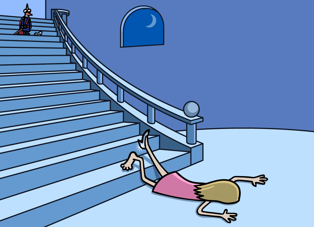 Cinderella is lying flat at the base of the staircase.