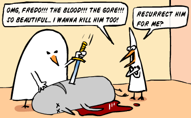 Omg, Fredo! The blood! The gore! So beautiful... I wanna kill him too! Resurrect him for me?