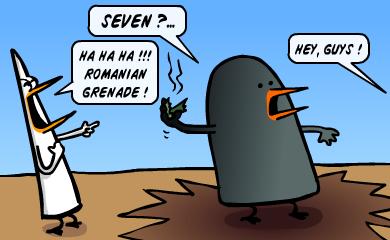Seven?... Ha ha ha!! Romanian grenade! - Hey guys!
